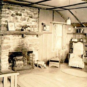 Historic North Carolina Photo Postcard Mt Pisgah Inn Interior Fireplace ca 1920