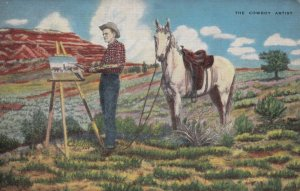 The Cowboy Artist, 1930-40s; Man painting while his horse stands behind him u...