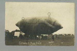 Waterville MAINE RPPC 1908 STROBEL AIRSHIP Balloon Zeppelin BEFORE CRASH & DEATH