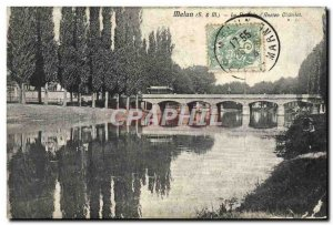 Old Postcard Melun The bridge of Chatelet & # 39ancien