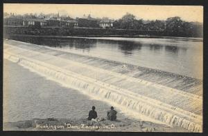 Muskingum Dam & 2 Men Zanesville Ohio Unused c1905