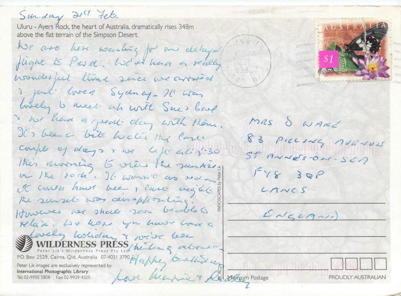 Central Australia Uluru Ayers Rock butterfly stamp