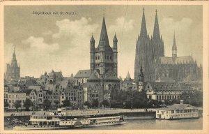Koln am Rhein Stapelhaus mit St Martin River Boats Cathedral Postcard