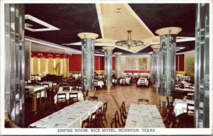 1940s Houston Rice Hotel Empire Room Interior View Linen Postcard BU