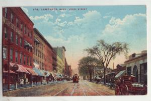 P793 old card horse and wagons trolly essex street lawrence mass