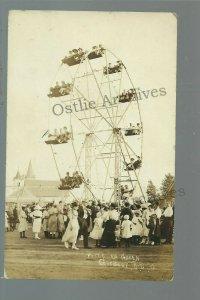 Gregory SOUTH DAKOTA RPPC c1910 FERRIS WHEEL Carnival Fair Crowd Tents CLOSE UP!