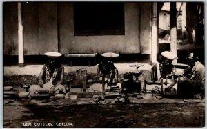 Vintage SRI LANKA Real Photo RPPC Postcard GEM CUTTERS CEYLON Unused