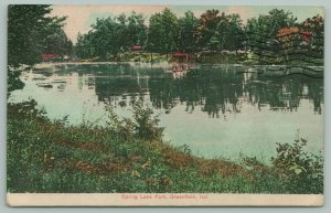 Greenfield Indiana~To Ms Wanda~Spring Lake Park~Panoramic View~c1910 Postcard
