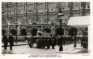 UK - England. King George VI Funeral. Coffin, Westminster Hall. *RPPC
