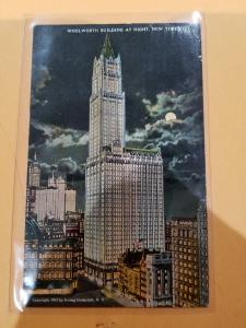 Antique Postcard, Woolworth Building at Night, New York City