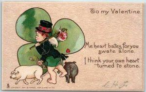 Vintage Artist-Signed E. CURTIS Postcard TUCK'S Valentine Series No. 3 c1900s