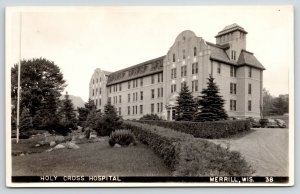 Merrill Wisconsin~Holy Cross Hospital on Hill top~1940s Cars in Lot~RPPC