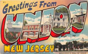 B31/ Union New Jersey NJ Postcard Linen Greetings from Union Large Letter