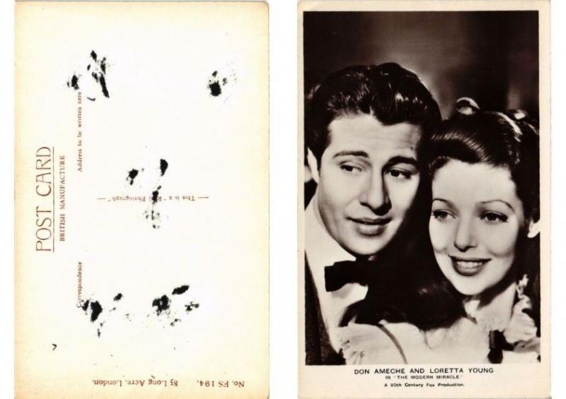 CPA Don Ameche and Loretta Young FILM STAR (591057)