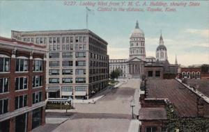 Kansas Topeka Looking West From Y M C A Building Showing State Capitol
