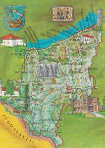 Somogy County Hungary Hungarian Map Megye Postcard