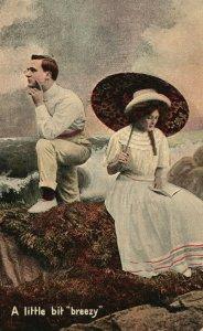 Vintage Postcard 1908 A Little bit Breezy Love Man and Woman by Ocean