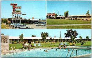 Tulare, California Postcard TULARE INN MOTEL Highway 99 Roadside Pool View 1960s