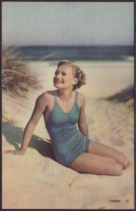 Girl in Swimsuit Postcard