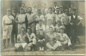 Vintage 1900s FRANCE Real Photo RPPC Postcard Group of TURNERS Gymnasts - UNUSED