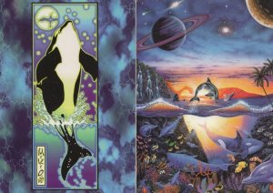 Dolphins in Outer Space 2x Psychedelic Fantasy Art Postcard s