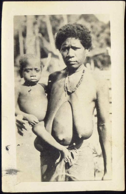 Dutch New Guinea Old Native Papua Woman with Young Boy (1940s) RP