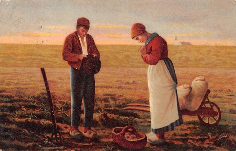 The Angelus (L'Angelus) Jean-Francois Millet Painting, Couple Prayer Field 1906