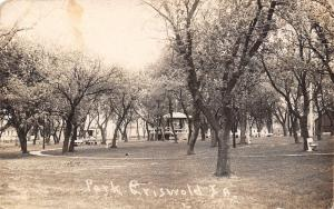 Griswold Iowa~City Park~Bandstand~Houses~Track Path~1924 Real Photo Postcard