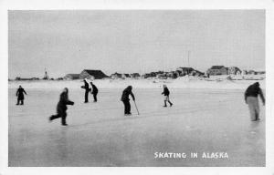 Ice Skating in Alaska~Lodge Behind B&W 1940s