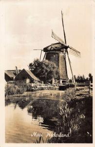Netherlands Mooi Nederland Village Houses Mill Postcard