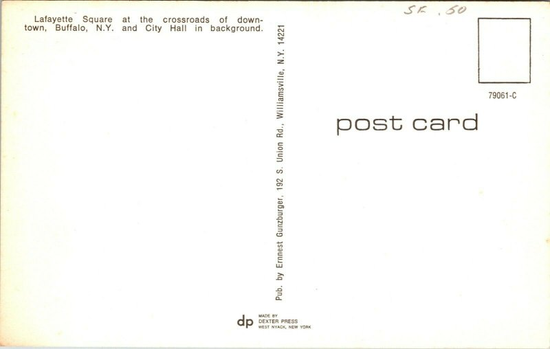 Buffalo, New York NY postcard Lafayette Square DOWNTOWN CROSSROADS