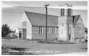 RPPC Methodist (Community) Church, Shelby, Montana 1946 Vintage Postcard