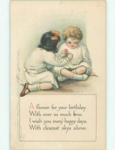 Pre-Linen KIDS GIVING A FLOWER FOR YOUR BIRTHDAY AC4656