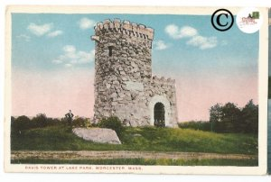 Vintage Postcard Davis Tower At Lake Park, Worcester Massachusetts