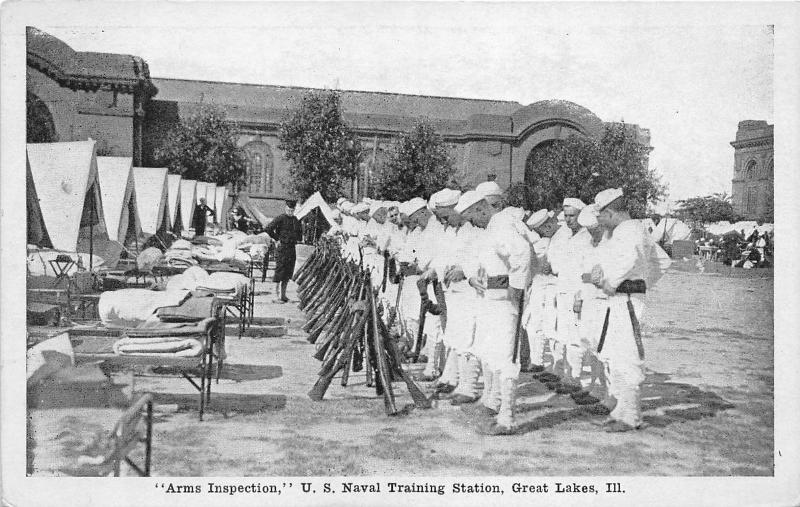 Great Lakes Illinois~Naval Training Station~Sailors @ Arms Inspection~Navy~1920s