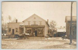 Bartlett IL~Hotel~HW Schnadt~P Schoenhofen~Chicago Beer~Kegs~Wagon~Dog~1912 RPPC