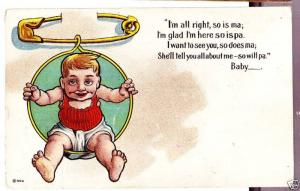 Old SAFETY PIN Child COMIC Postcard c1910