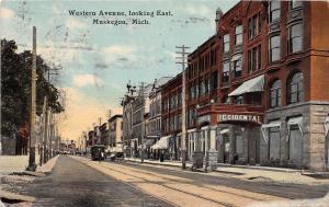 A62/ Muskegon Michigan Mi Postcard 1911 Western Avenue East Occidental Hotel