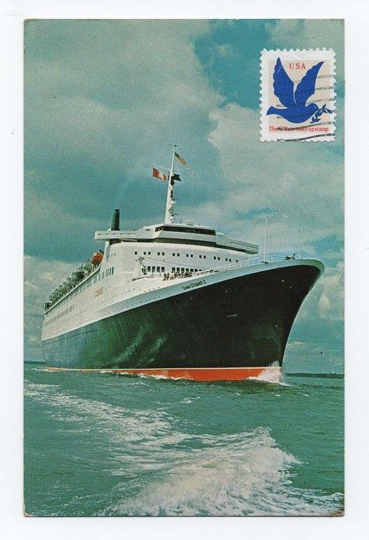 PC OCEAN LINER ISSUE CUNARD 1960s SHIP QUEEN ELIZABETH 2 PAQUEBOT BOATS SHIPS