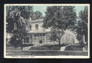 GREENFIELD OHIO HOSPITAL BUILDING VINTAGE POSTCARD
