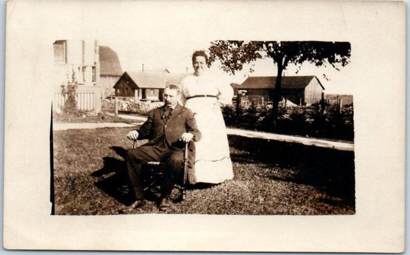 Vintage RPPC Real Photo Postcard Older Couple on House Front Lawn c1910s