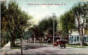 Fargo North Dakota~Home w/Porch Parapet~c1910 Vintage Car on 8th Street North PC