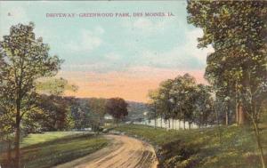 Iowa Des Moines Driveway In Greenwood Park 1909