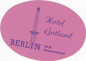 Germany Berlin Hotel Gotland Vintage Luggage Label sk2996