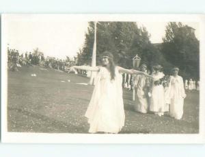 Pre-1918 rppc DRESSED UP AT WSC WASHINGTON STATE COLLEGE Pullman WA i9295
