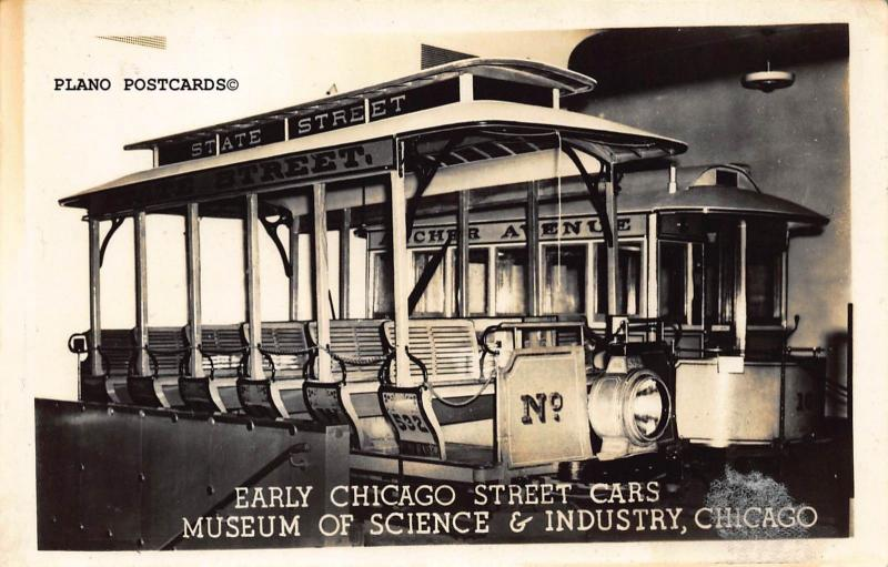 EARLY CHICAGO STREET CARS-MUSEUM OF SCIENCE/INDUSTRY RPPC REAL PHOTO POSTCARD