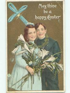 Pre-Linen GIRL AND BOY BOTH HOLDING EASTER LILY FLOWERS J2310