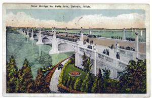 Detroit, Michigan to Springfield, Ohio 1923 used PC, Belle Isle Bridge