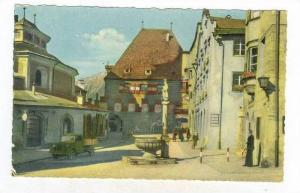 RP  Solbad Hall in Tirol, Oberer Stadtplatz mit Rathaus, Austria, PU-1957