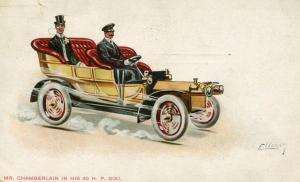 Mr. Chamberlain in his 30 HP Dixi   *Artist Signed: Ellam